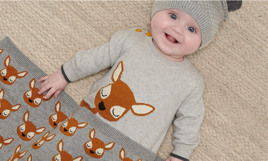 unisex grey and ginger deer knitted baby gift set
