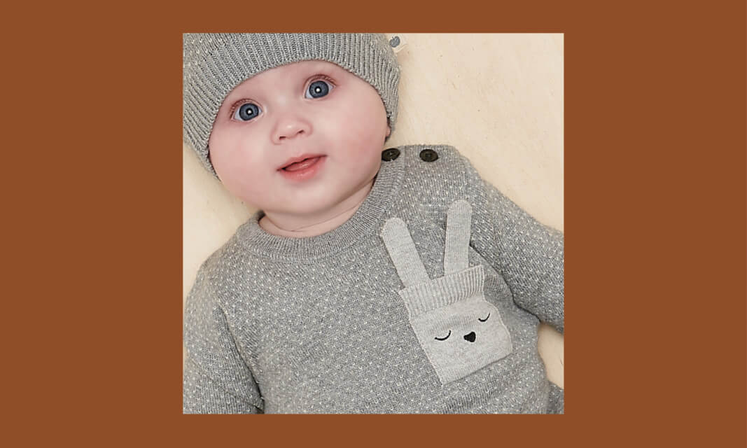 unisex baby bunny pocket knitted playsuit