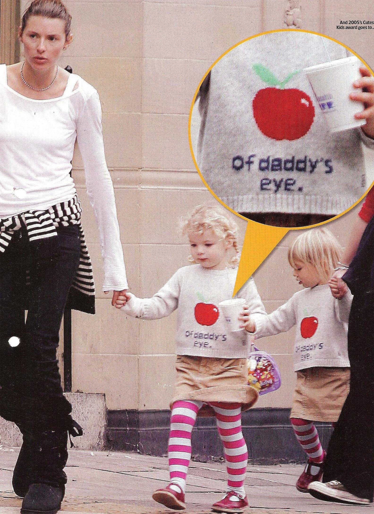 Jules Oliver and kid wearing Bonnie baby's Apple of daddy's eye sweater