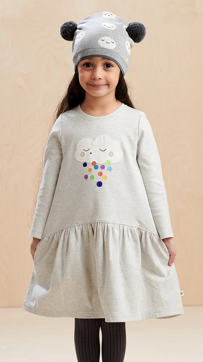 organic cotton rainbow cloud girls dress