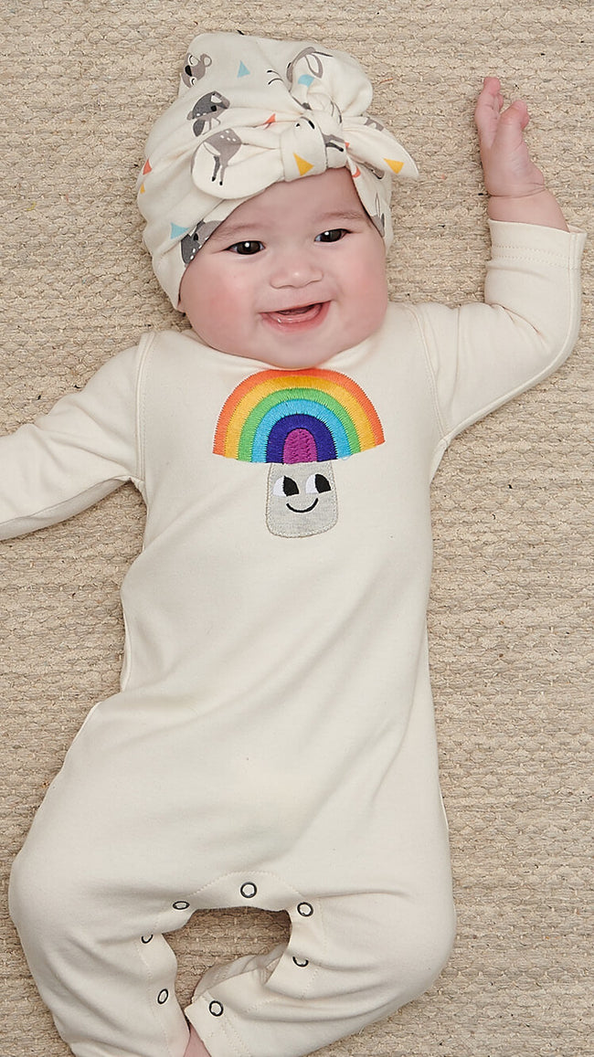 organic cotton rainbow baby playsuit