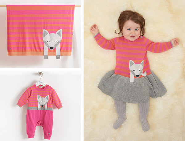 pink fox clothes for baby girls in soft cashmere blends
