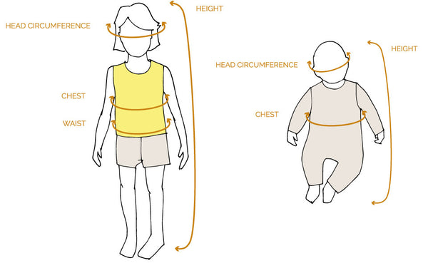 Size Guide for The bonniemob Baby and kids clothing
