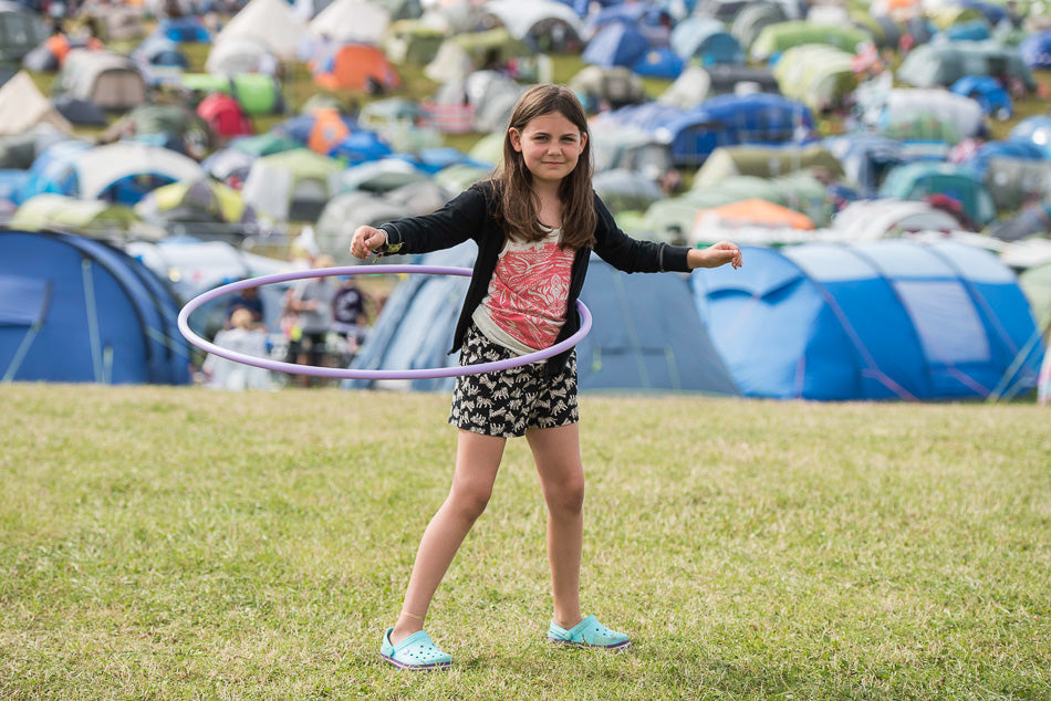 girl hoola hooping at camp bestival