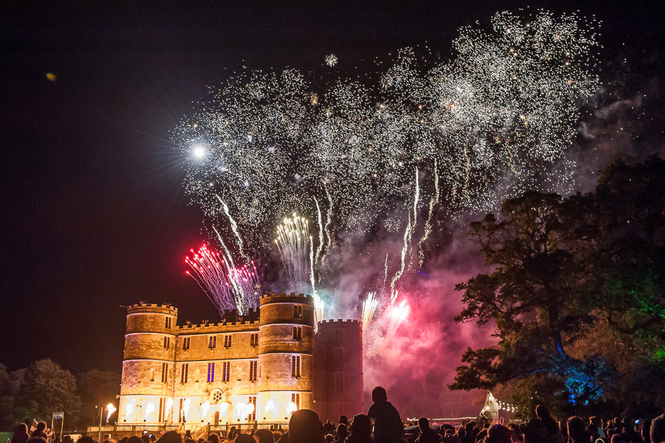 camp bestival 2015 fireworks over castle