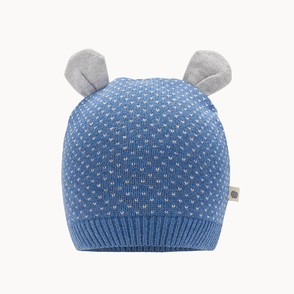 ACACIA - Baby Knitted Hat With Ears BLUE - The bonniemob