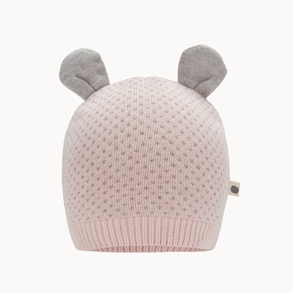 ACACIA - Baby Knitted Hat With Ears PINK - The bonniemob