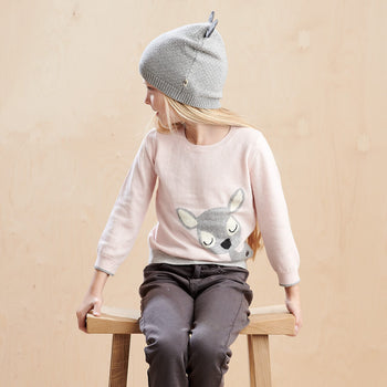 BUCK - Kids Deer Intarsia Sweater  PINK - The bonniemob