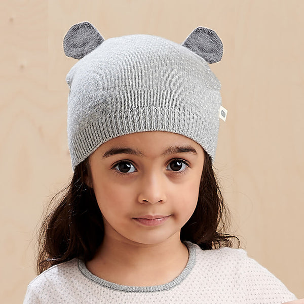 ACACIA - Kids Knitted Hat With Ears  GREY - The bonniemob