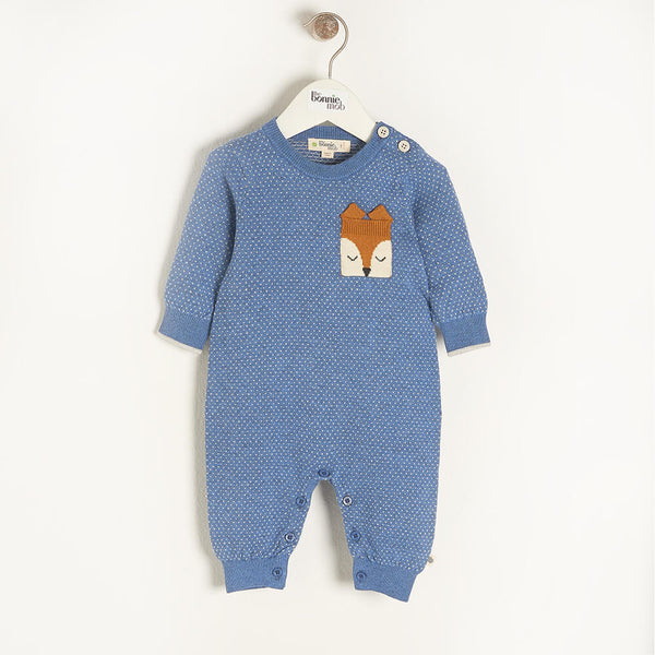 ACORN - Baby Birdseye Jaquard Playsuit BLUE - The bonniemob