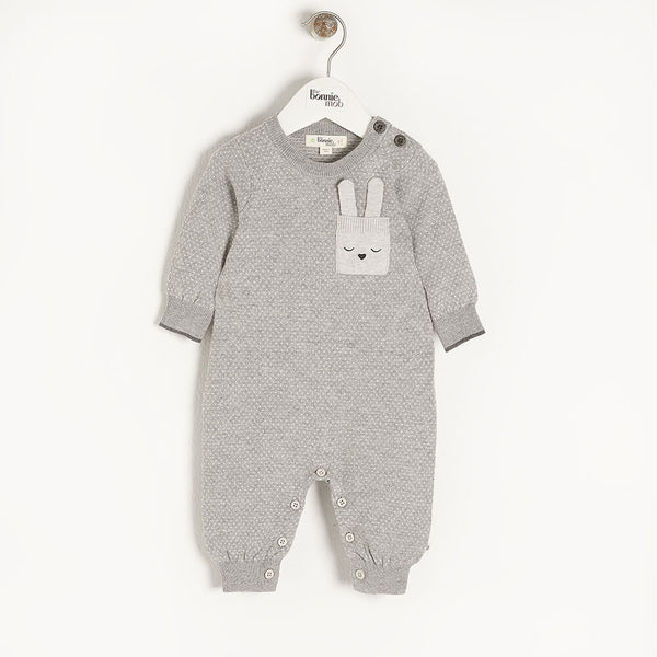 ACORN - Baby Birdseye Jaquard Playsuit GREY - The bonniemob