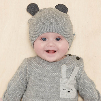 ACACIA - Baby Knitted Hat With Ears GREY - The bonniemob