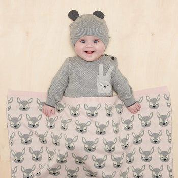 BIRCH - Baby Deer Jaquard Blanket PINK - The bonniemob