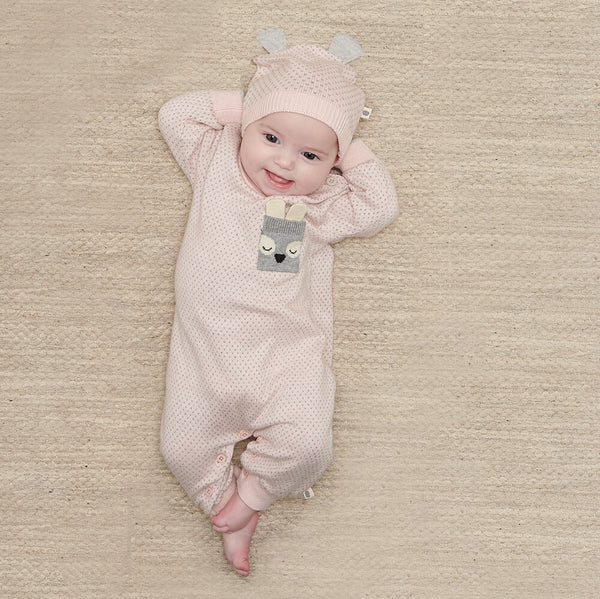 ACORN - Baby Birdseye Jaquard Playsuit PINK - The bonniemob