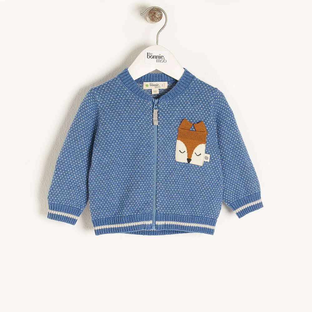 ASH - Baby Birdseye Jaquard Cardigan BLUE - The bonniemob