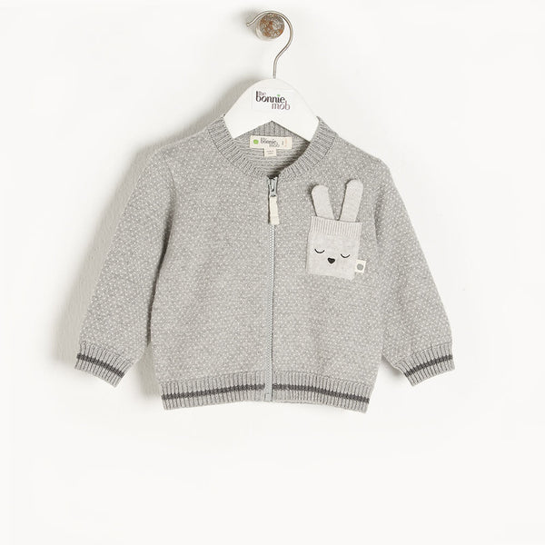 ASH - Kids Birdseye Jaquard Cardigan  GREY - The bonniemob