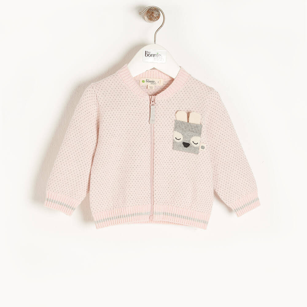 ASH - Kids Birdseye Jaquard Cardigan  PINK - The bonniemob