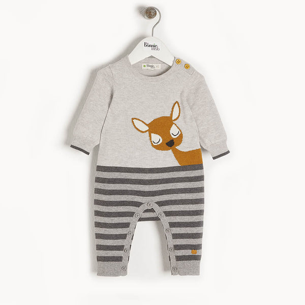 BAMBI - Baby Deer Intarsia Playsuit GREY - The bonniemob