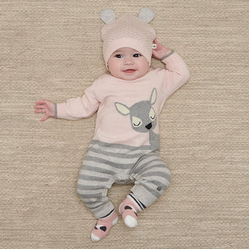 BAMBI - Baby Deer Intarsia Playsuit PINK - The bonniemob