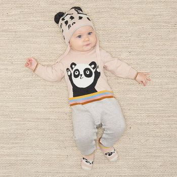 BEATLES - Baby Panda Intarsia Playsuit - PALE PINK - The bonniemob