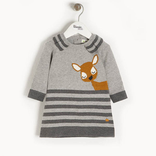 BRAMBLE - Baby Deer Intarsia Dress GREY - The bonniemob