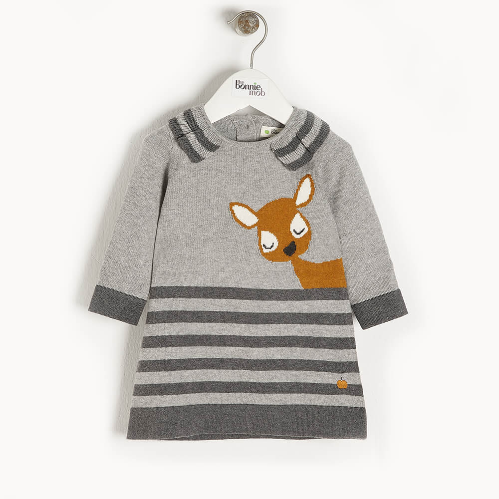 BRAMBLE - Kids Deer Intarsia Dress  GREY - The bonniemob