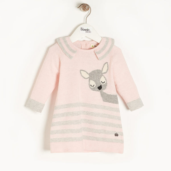 BRAMBLE - Baby Deer Intarsia Dress PINK - The bonniemob