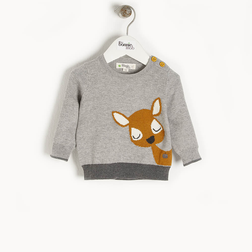BUCK - Baby Deer Intarsia Sweater GREY - The bonniemob