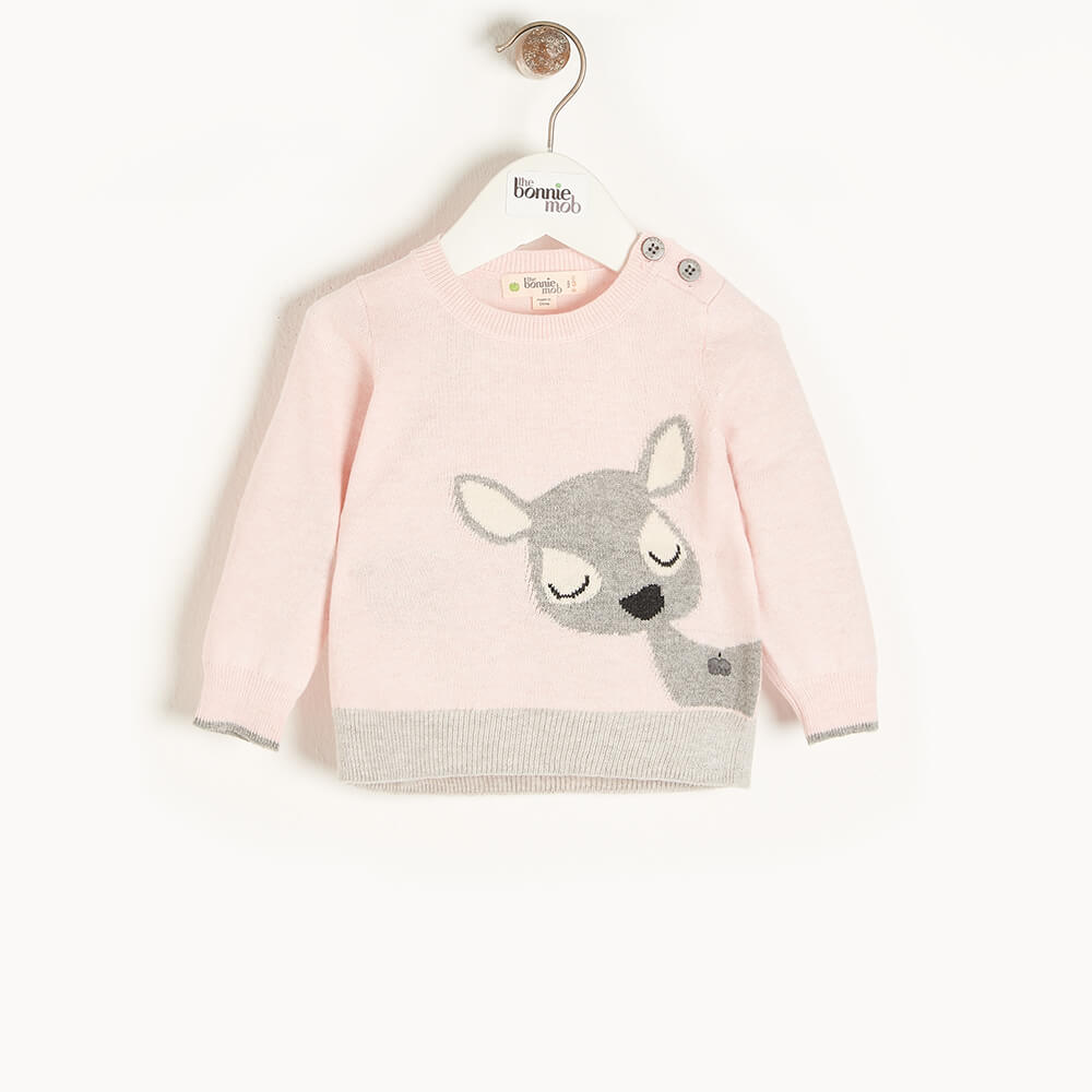 BUCK - Baby Deer Intarsia Sweater PINK - The bonniemob