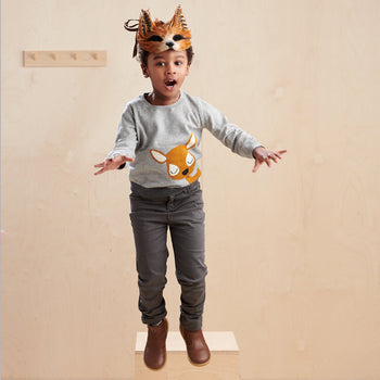 BUCK - Kids Deer Intarsia Sweater  GREY - The bonniemob