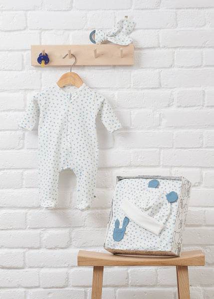 BUMPER GIFT SET - Baby Blanket, Sleepsuit, Hat, Bib + Teether Set BLUE - The bonniemob
