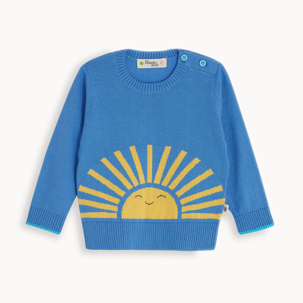 BURBANK - Baby Sweater BLUE - The bonniemob
