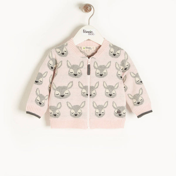 BURDOCK - Kids Deer Jaquard Cardigan  PINK - The bonniemob