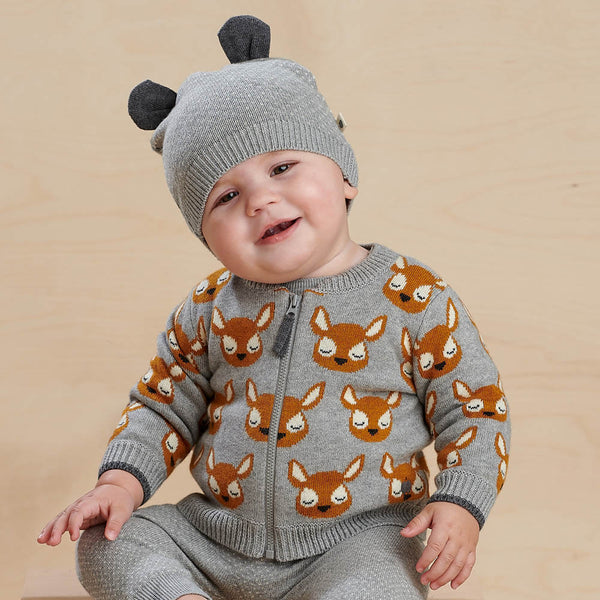 BURDOCK - Baby Deer Jaquard Cardigan GREY - The bonniemob