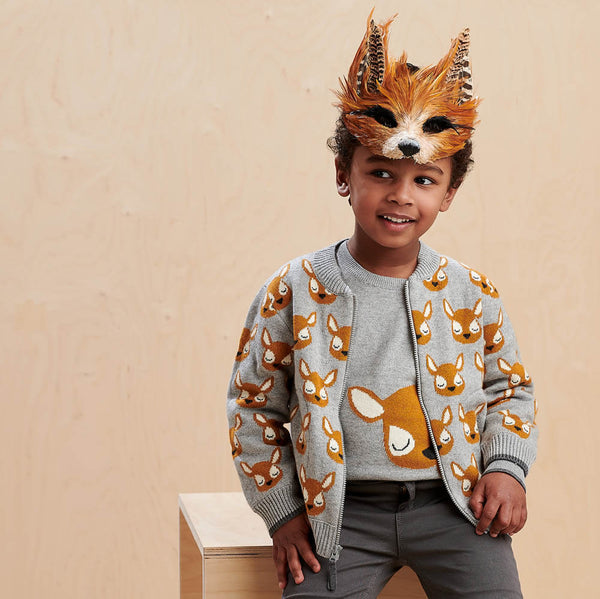 BURDOCK - Kids Deer Jaquard Cardigan  GREY - The bonniemob