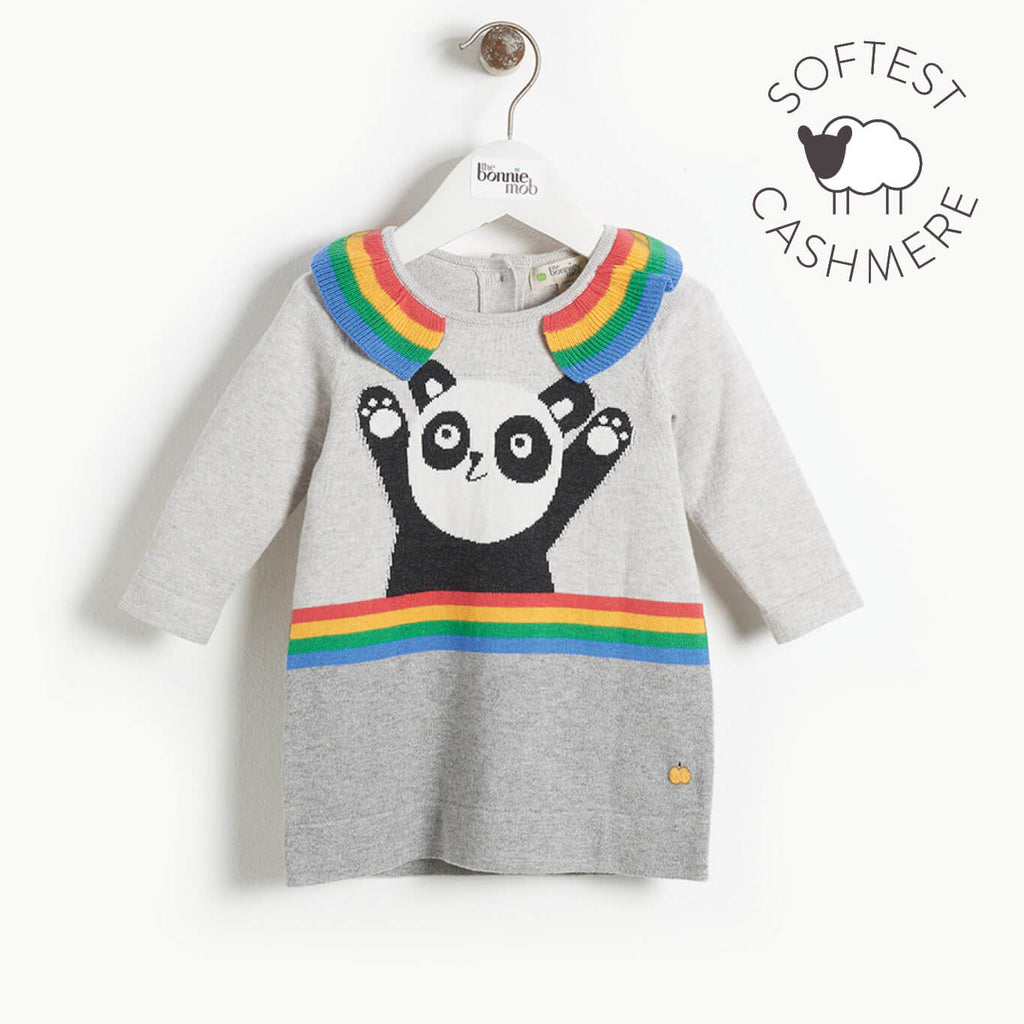 BRITT - Baby Girl Panda Intarsia Dress - GREY - The bonniemob