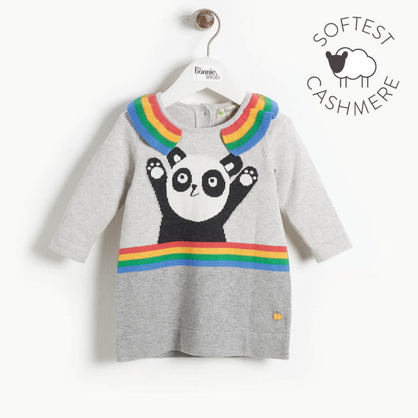BRITT - Baby Girl Panda Intarsia Dress - GREY