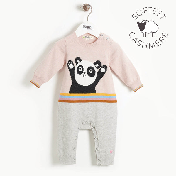 BEATLES - Baby Panda Intarsia Playsuit - PALE PINK