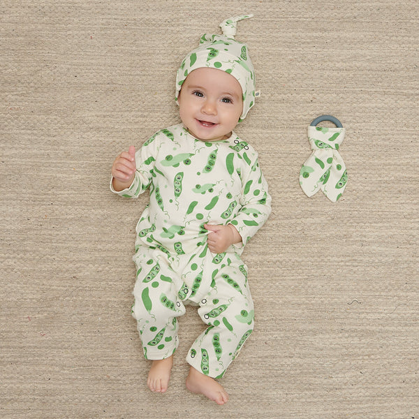 CUB - Baby Baby Beanie Hat With Tie Top PEA - The bonniemob