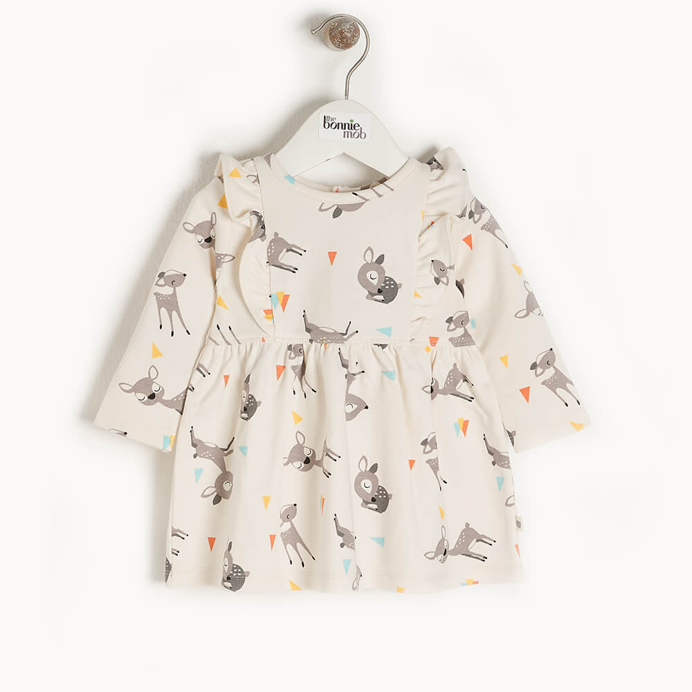 CHERRY - Baby Dress With Frill Shoulder DEER - The bonniemob