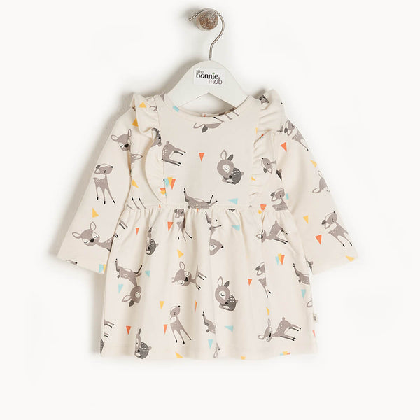 CHERRY - Kids Dress With Frill Shoulder  DEER - The bonniemob