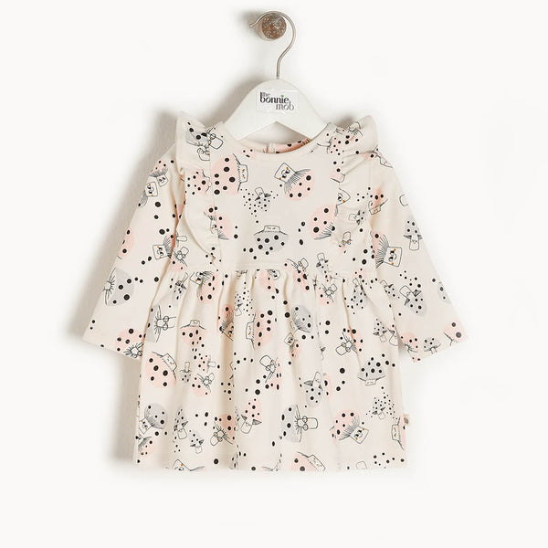 CHERRY - Kids Dress With Frill Shoulder  MUSHROOM - The bonniemob