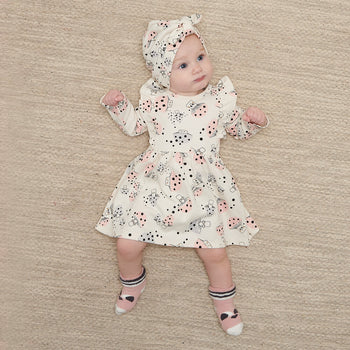 CHERRY - Baby Dress With Frill Shoulder MUSHROOM - The bonniemob