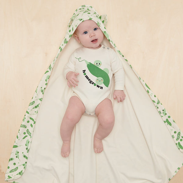 CHESTNUT - Baby Bodysuit PLACED PEA - The bonniemob