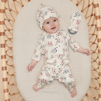 CUB - Baby Baby Beanie Hat With Tie Top MUSHROOM - The bonniemob