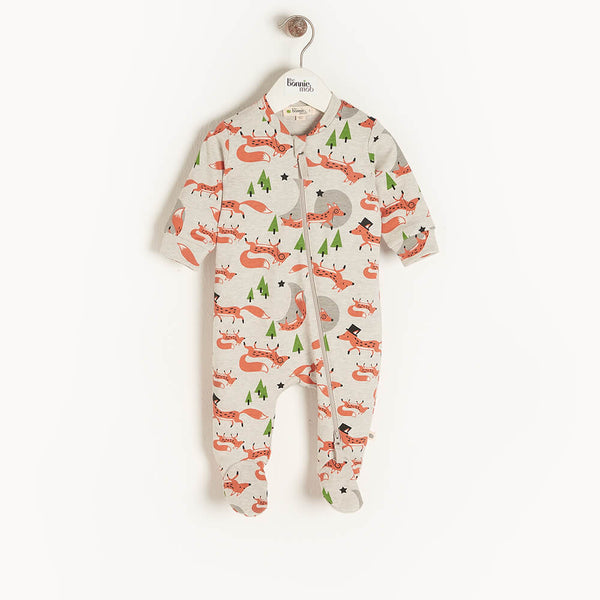 CYPRESS - Baby Zip Front Sleepsuit FOX - The bonniemob