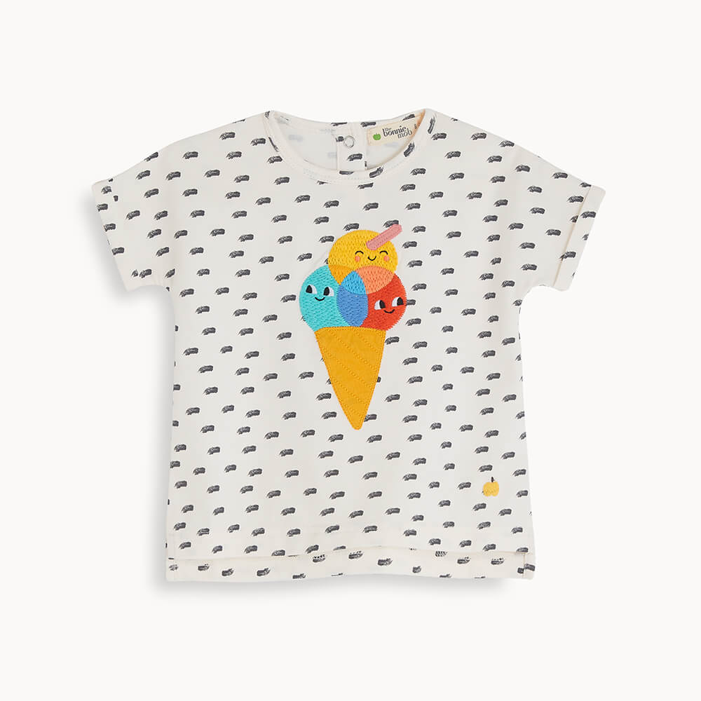 DAVID - Kids Applique T Shirt ICE CREAM - The bonniemob