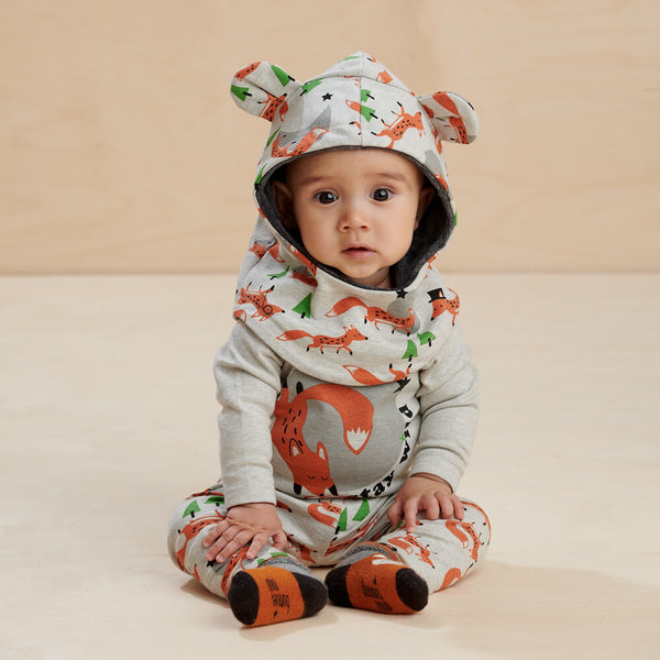 CHESTNUT - Baby Bodysuit PLACED FOX - The bonniemob