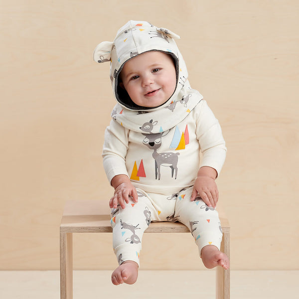 CHESTNUT - Baby Bodysuit PLACED DEER - The bonniemob