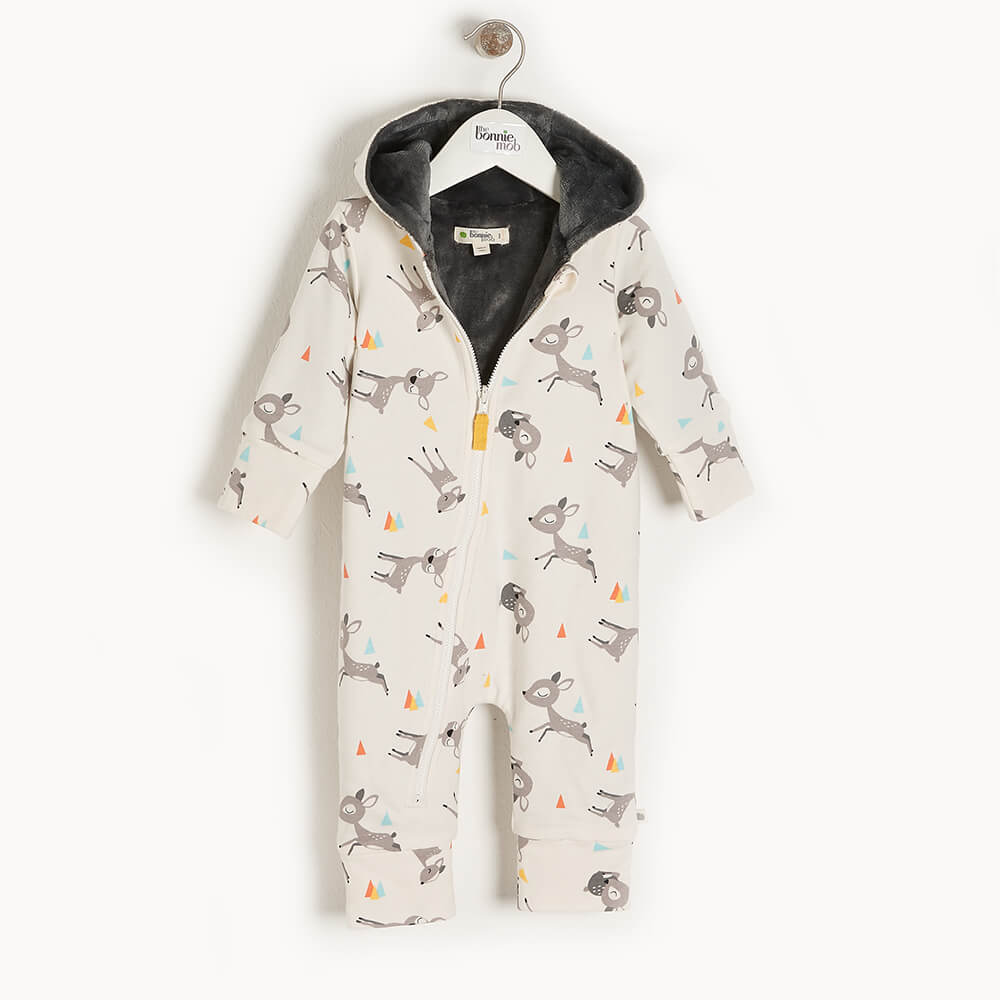 DOE - Baby Hooded Onesie DEER - The bonniemob